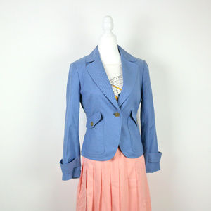 ⚡TALBOTS Blue Linen One Button Blazer